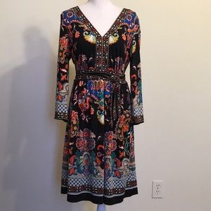 ECI NY Boho Floral Print Jersey Knit Midi Dress L